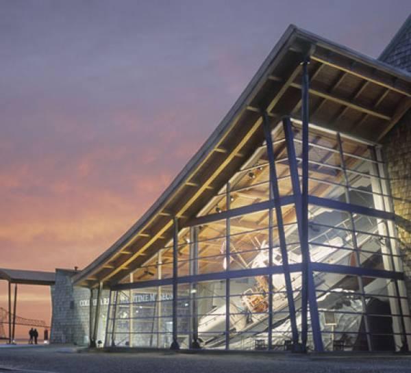 Astoria Oregon Maritime Museum outdoors at sunset