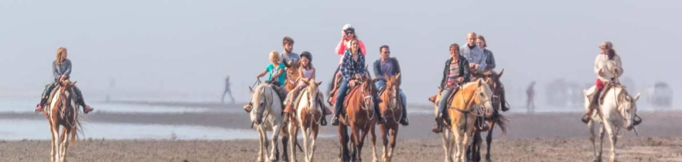 Group of people riding horseback  in Long Beach, Washington